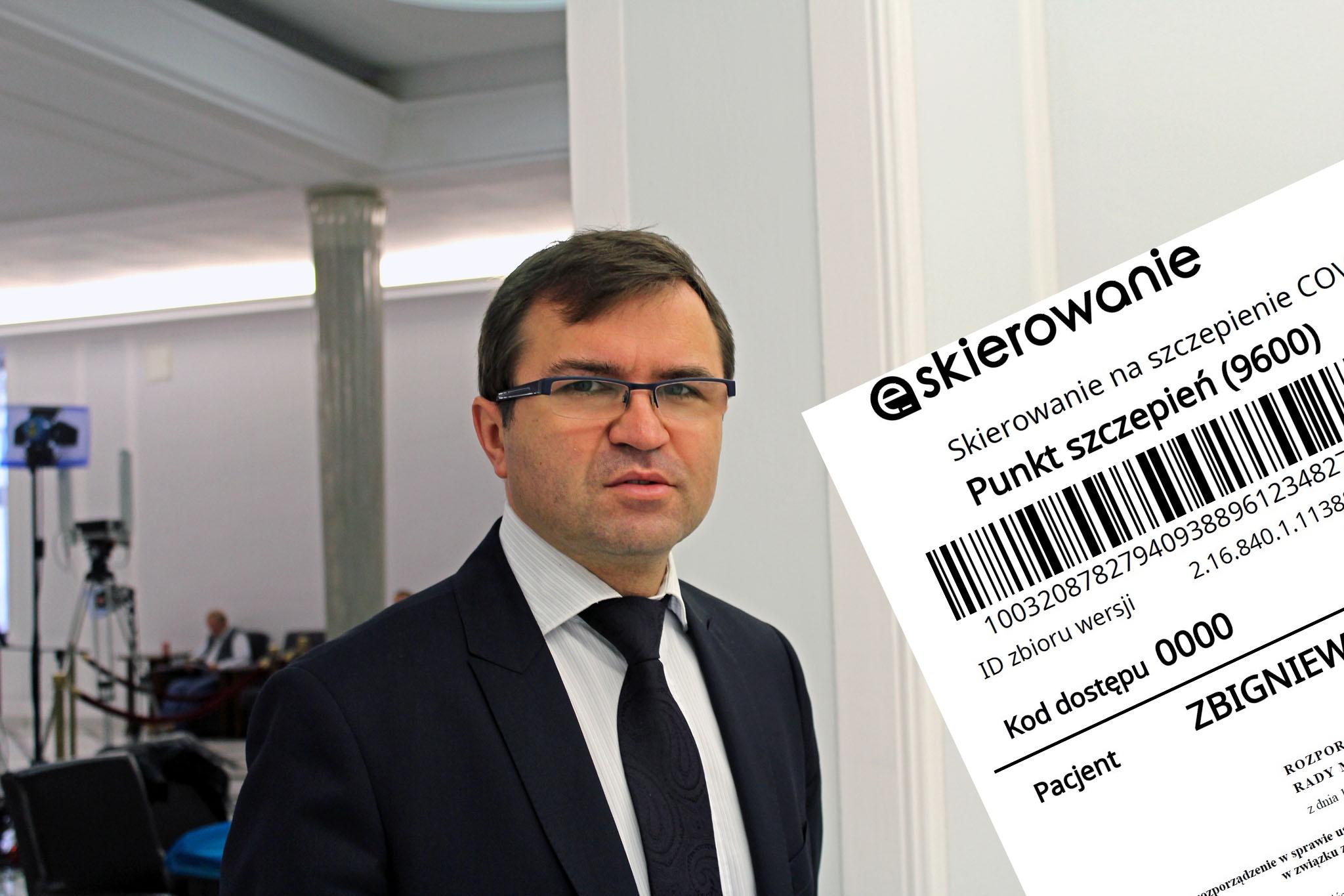 Girzyński twierdzi, że dostał skierowanie na szczepienie