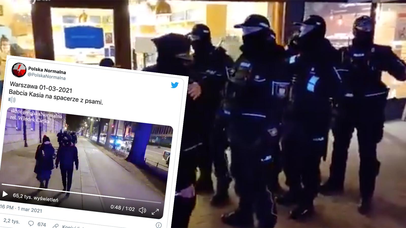"""[WIDEO] Babcia Kasia robi zakupy w """"eskorcie"""" grupy policjantów"""