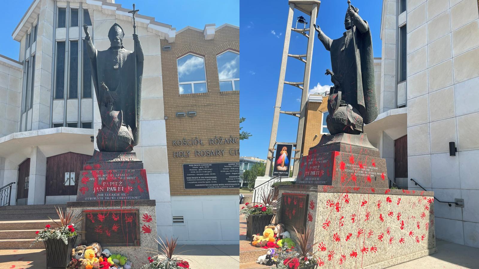 Zdewastowano pomnik Jana Pawła II. W tle afera, w której zginęły tysiące dzieci