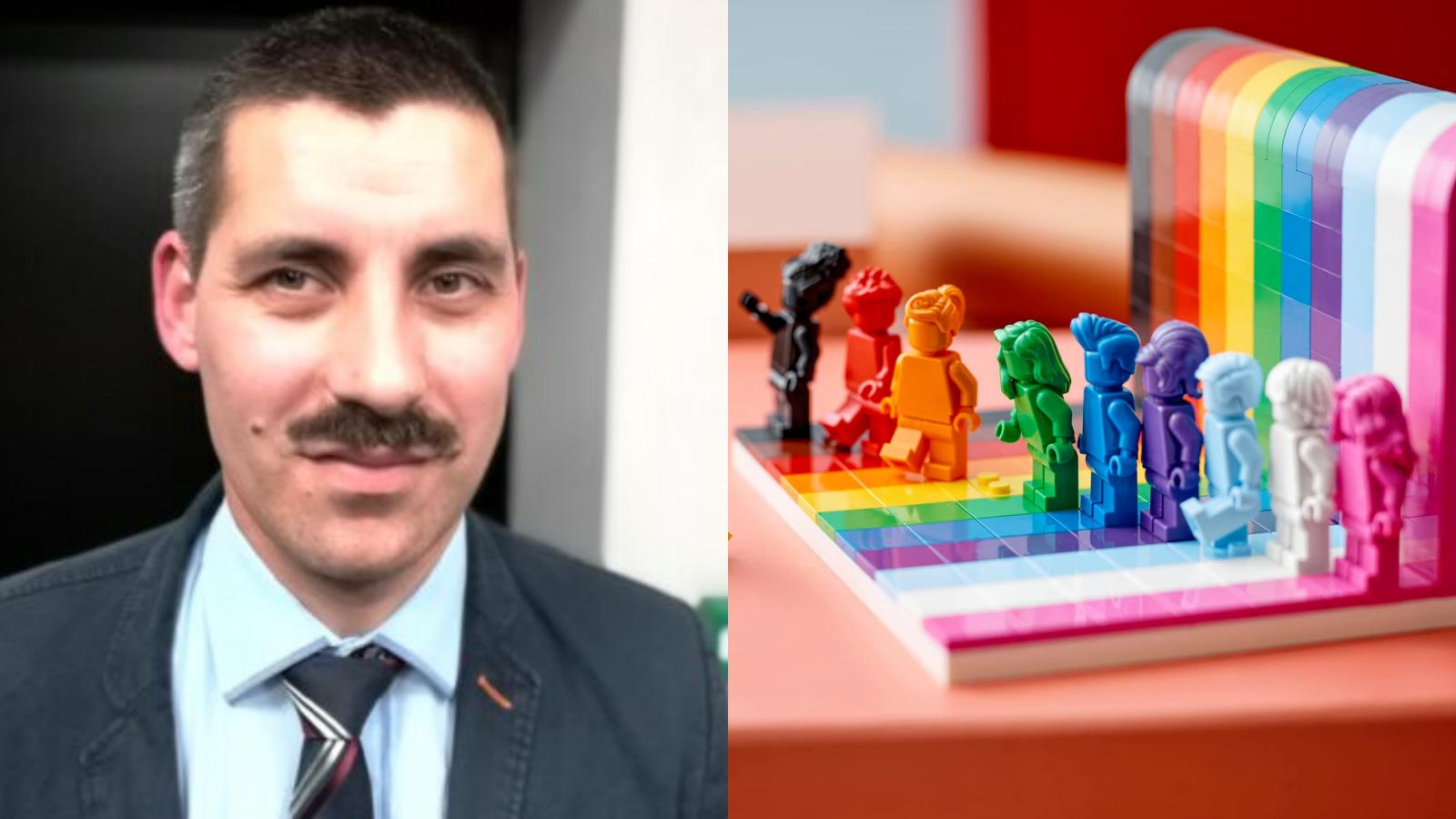 Pracownik IPN-u dzielnie walczy z tęczowymi klockami LEGO