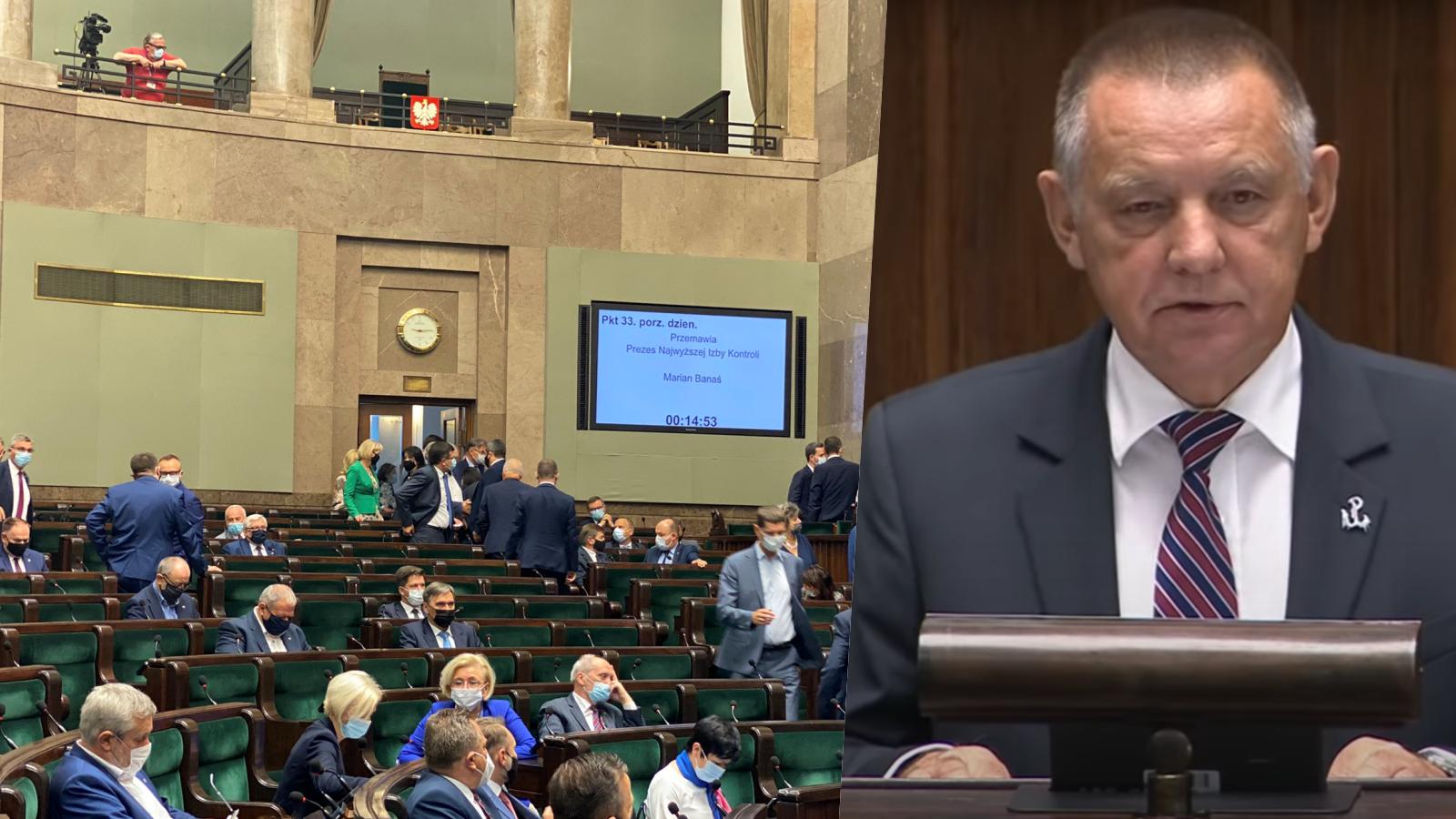 Posłowie PiS opuścili salę, gdy przemawiał Marian Banaś. Padły poważne zarzuty