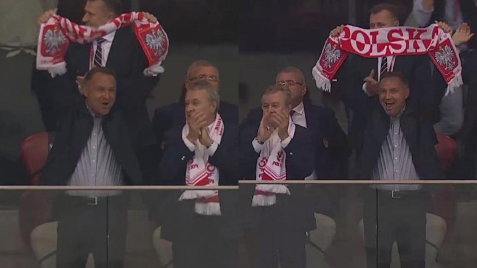 Prezydent po tym, jak wydał zgodę na wprowadzenie stanu wyjątkowego szalał z radości na meczu