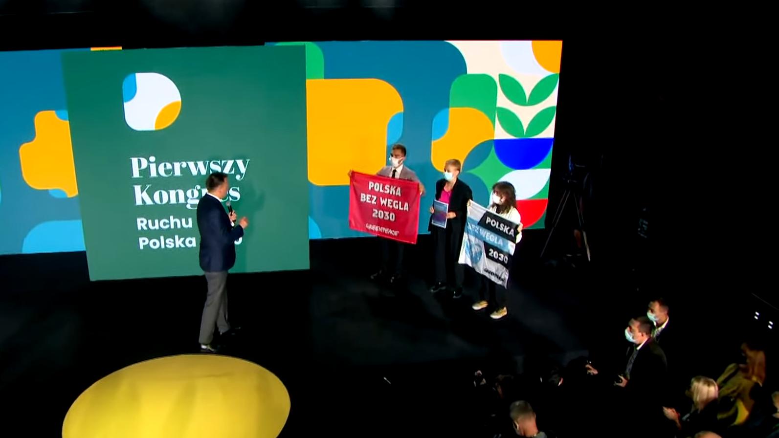 Aktywiści Greenpeace zakłócili przemówienie Szymona Hołowni